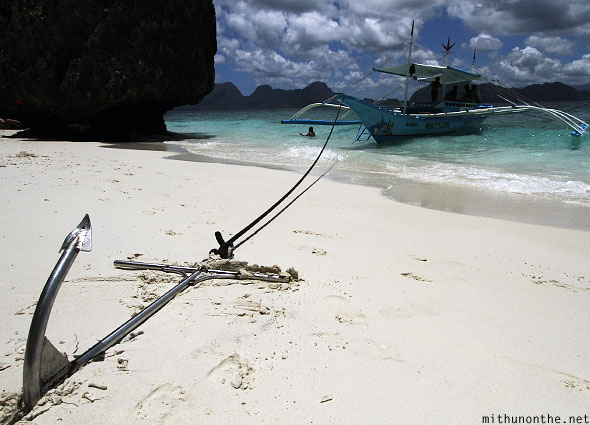 Anchor boat Entalula beach El Nido Palawan Philippines