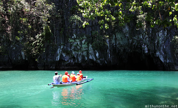 Boat entering Sabang Underground river Palawan Philippines