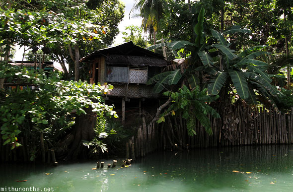 Bohol village hut Loboc river Philippines