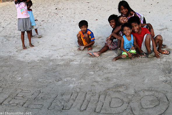 El Nido beach children Palawan Philippines