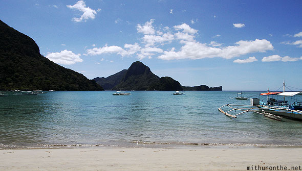 El Nido beach view from Spider guesthouse Palawan