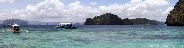 El Nido Filipino boats South China sea Palawan Panorama