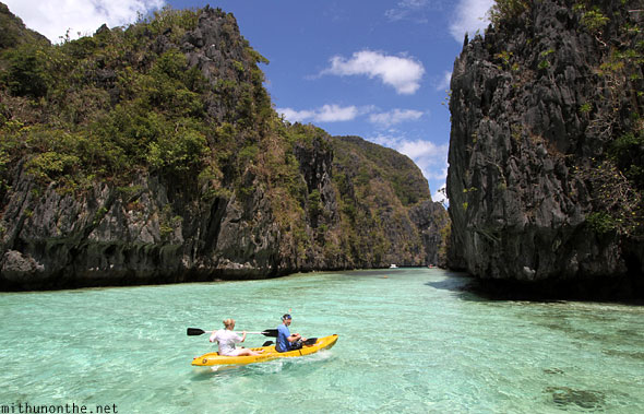 El Nido kayak to big lagoon Miniloc Palawan Philippines