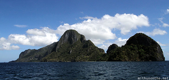 El Nido South China Sea limestone hills Palawan Philippines