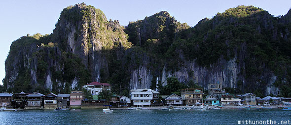 El Nido village from sea Palawan Philippines