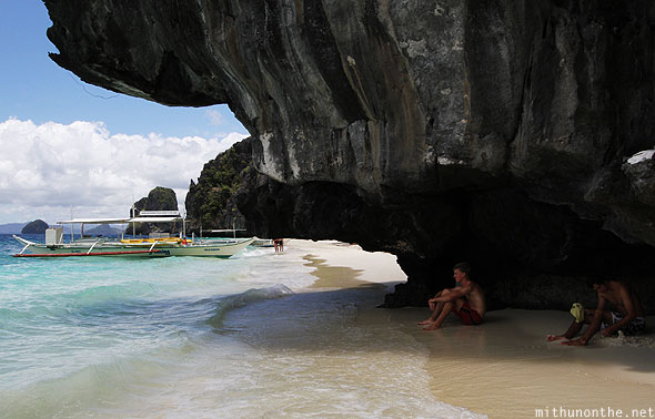 Entalula island beach rock Palawan Philippines