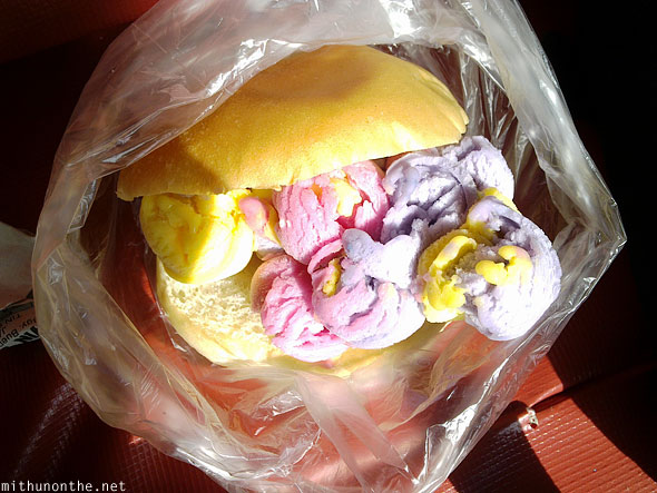 Ice cream bun street food Palawan Philippines