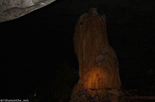 Inside underground river candle shape rock Philippines