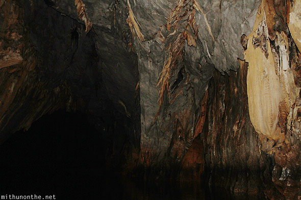 Inside underground river cave rocks Puerto Princesa Philippines