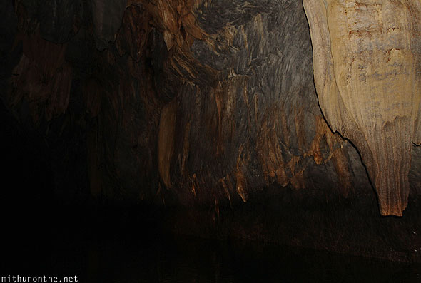 Inside underground river dark cave Puerto Princesa Philippines