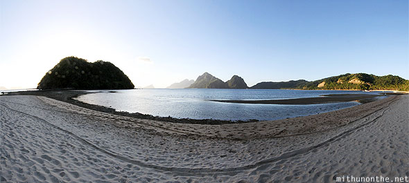 Las Cabanas beach evening El Nido Palawan panorama