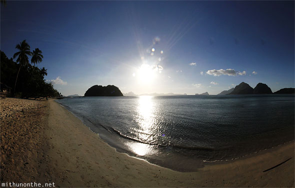 Las Cabanas beach evening sun El Nido panorama