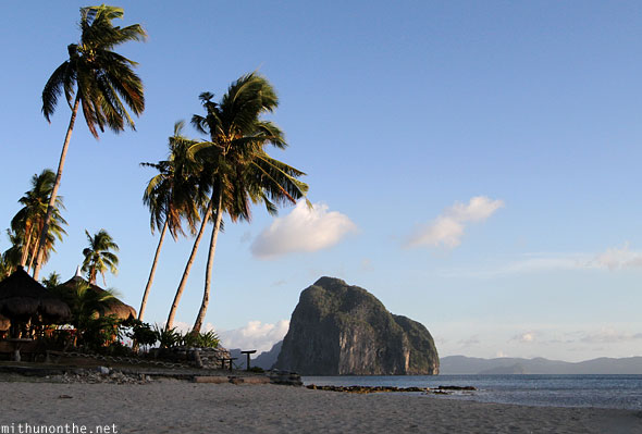 Las Cabanas beach resort trees hill El Nido Palawan Philippines
