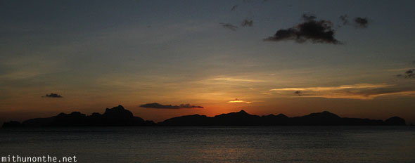 Las Cabanas beach sunset El Nido Palawan Philippines