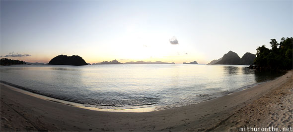 Las Cabanas beach sunset Palawan Philippines panorama