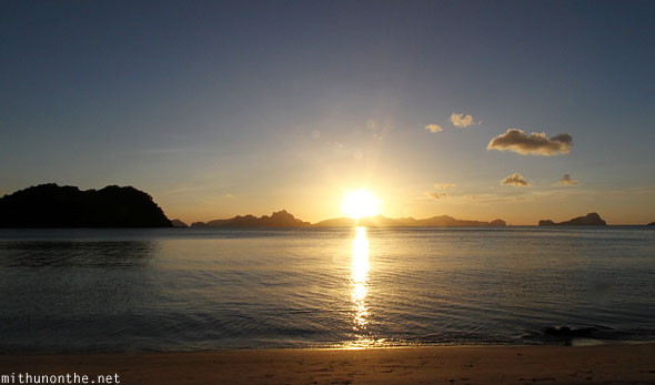Las Cabanas beach sunset Palawan Philippines