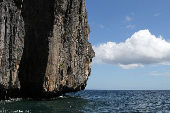 Limestone rock cloud El Nido sea Philippines