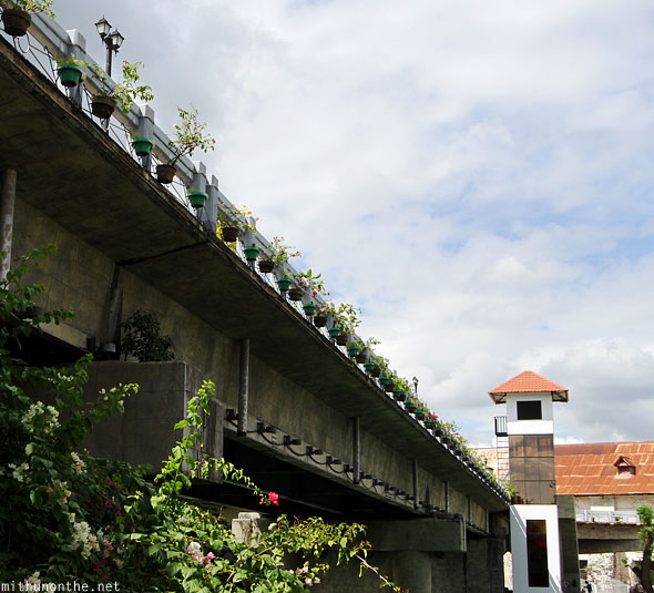 Loboc river bridge flower pots Bohol