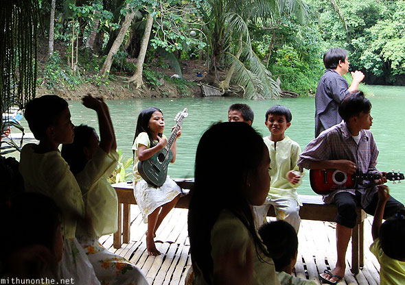 Loboc river children singing Bohol