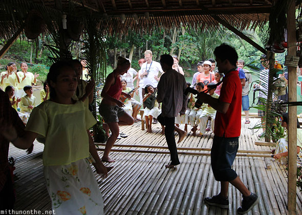 Loboc river cruise playing games Bohol
