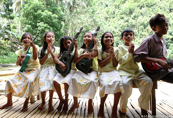 Loboc river village children ukele Bohol Philippines