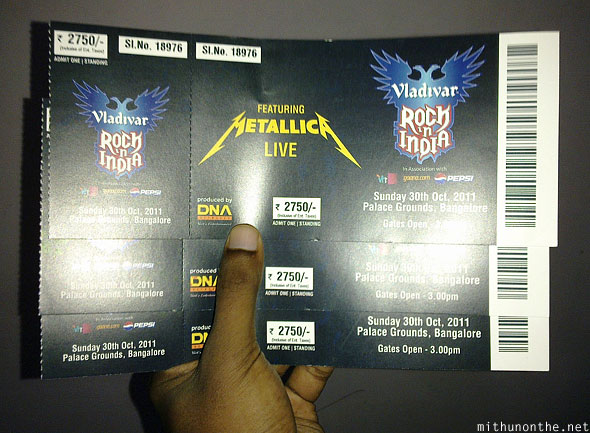 Metallica Bangalore concert tickets DNA