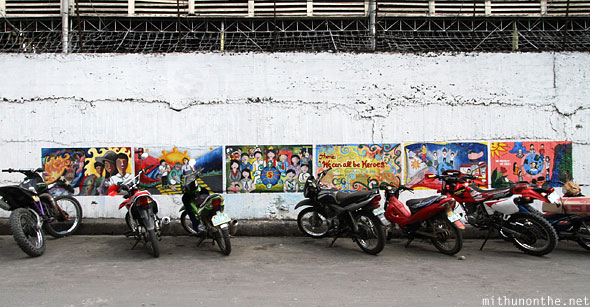 Mopeds bikes parked wall painting Bohol