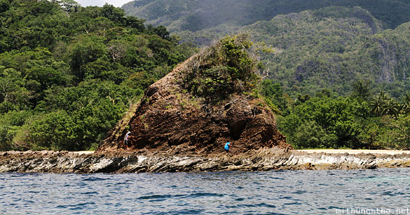 Palawan island rock Sabang beach Philippines