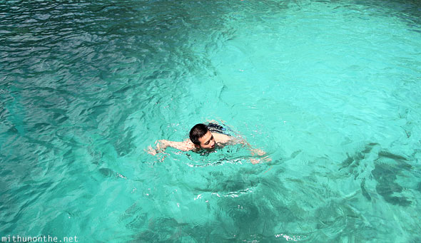 Pedro Fong swimming emerald waters El Nido Palawan Philippines