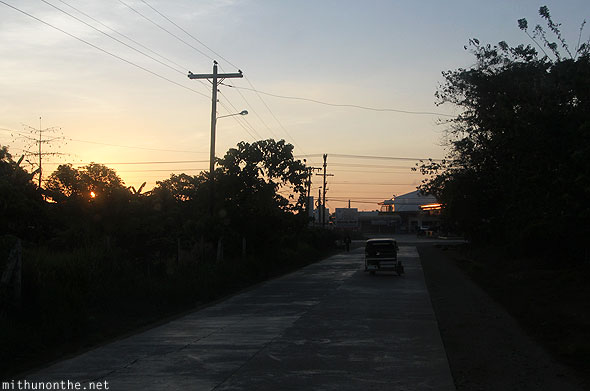 Puerto Princesa bus stop road early morning Palawan