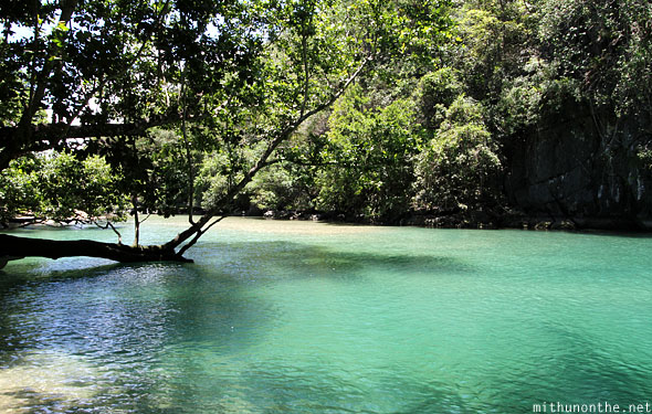 Sabang under river emerald water Palawan Philippines