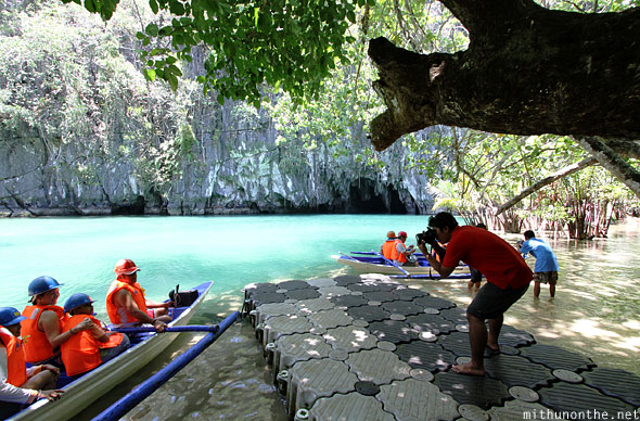 Sabang Underground river tourists photo Palawan Philippines