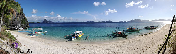 Seven commandos beach Palawan Philippines panorama