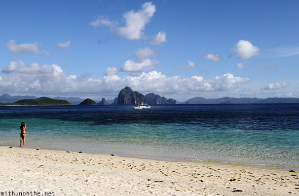 Seven commandos beach woman bikini El Nido Palawan Philippines