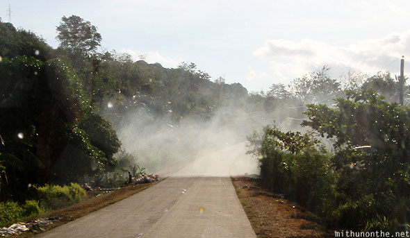 Smoke on road Palawan Philippines