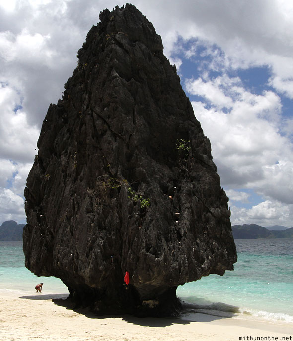 Spade arrow shaped rock Entalula island Palawan Philippines