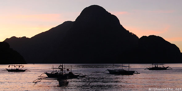 Sunset at El Nido beach Maligaya Palawan Philippines