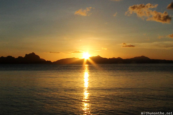 Sunset at Las Cabanas beach El Nido Palawan Philippines