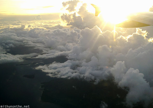Sunset clouds from airplane islands Philippines