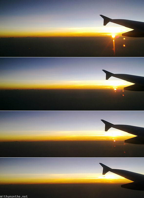 Sunset seen from airplane aerial photograph Philippines