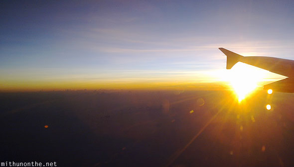 Sunset seen from airplane Philippines