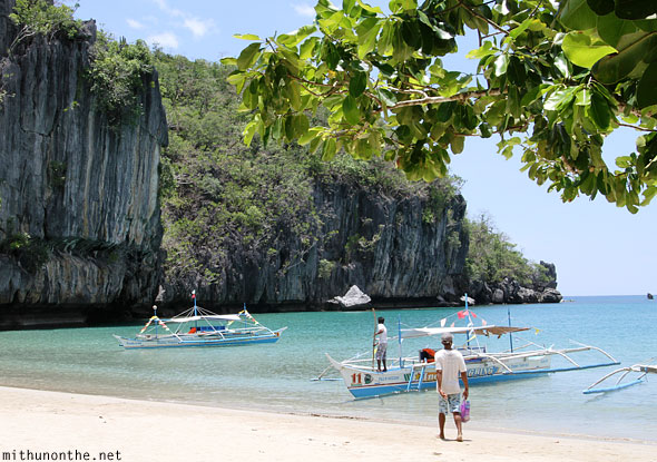 Underground river beach boats Palawan Philippines