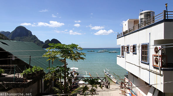 View from Art Cafe balcony El Nido beach Palawan