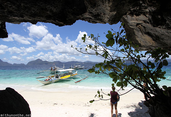 View from cave Entalula island El Nido Palawan Philippines