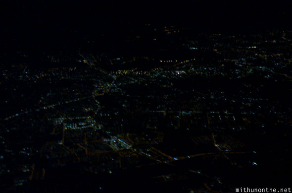 Bangalore city at night lights from sky