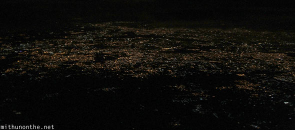 Bangalore city lights from night sky
