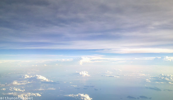 Flying over South China Sea to Malaysia