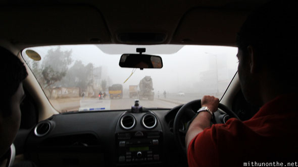 Foggy Sarjapur road morning drive Bangalore