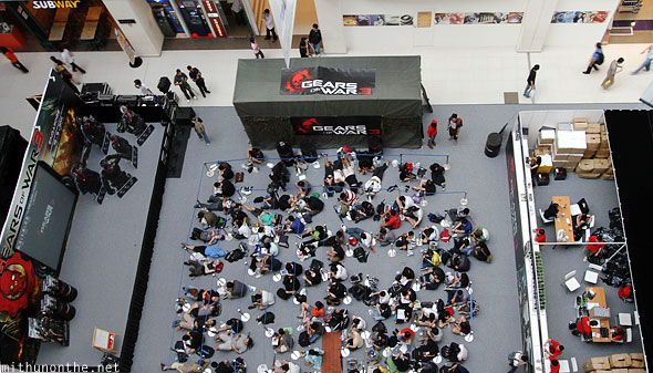 Gears of War 3 launch party shot from up Funan IT mall Singapore