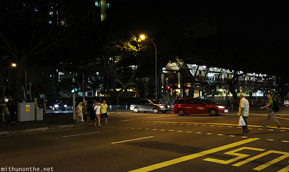 Geylang Serai market at night road Singapore